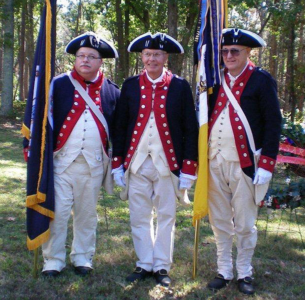 Fritts, Skillman and Brahin dressed in Continental Army uniform